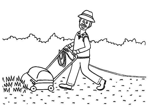 Grass, Grandfather Almost Finish Mowing Grass Coloring Pages: Grandfather Almost Finish Mowing Grass Coloring Pages