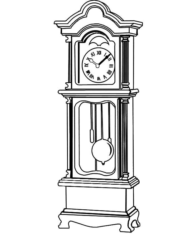 Grandfather Clock, Grandfather Clock Beautiful Fretwork Coloring Pages: Grandfather Clock Beautiful Fretwork Coloring Pages
