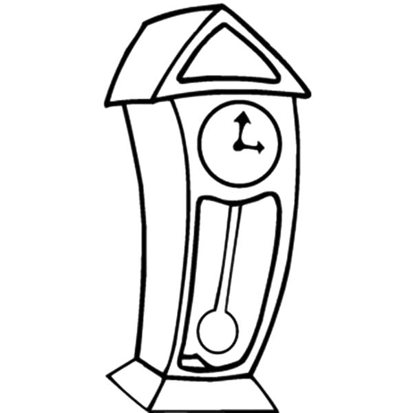 Grandfather Clock, Grandfather Clock Cartoon Coloring Pages: Grandfather Clock Cartoon Coloring Pages