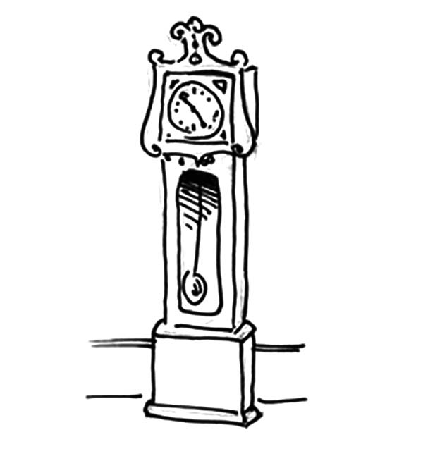Grandfather Clock, Grandfather Clock Coloring Pages For Kids: Grandfather Clock Coloring Pages for Kids