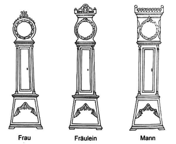 Grandfather Clock, Grandfather Clock Various Type Coloring Pages: Grandfather Clock Various Type Coloring Pages