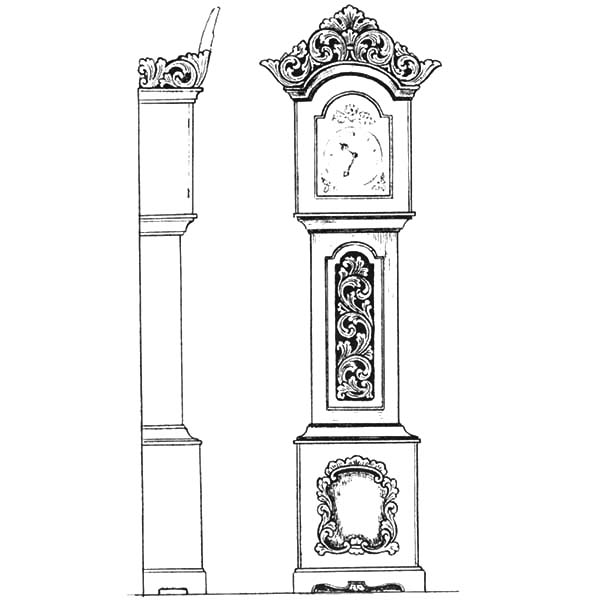 Grandfather Clock, Grandfather Clock From Front And Side View Coloring Pages: Grandfather Clock from Front and Side View Coloring Pages