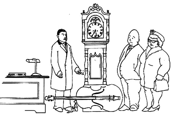 Grandfather Clock in Antique Store Coloring Pages Color Luna