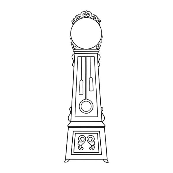 Grandfather Clock, Grandfather Clock With Big Mirror Coloring Pages: Grandfather Clock with Big Mirror Coloring Pages