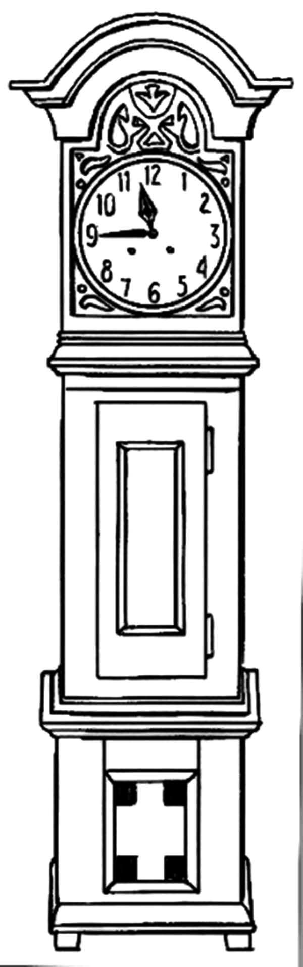 Grandfather Clock, Grandfather Clock With Pine Case Coloring Pages: Grandfather Clock with Pine Case Coloring Pages