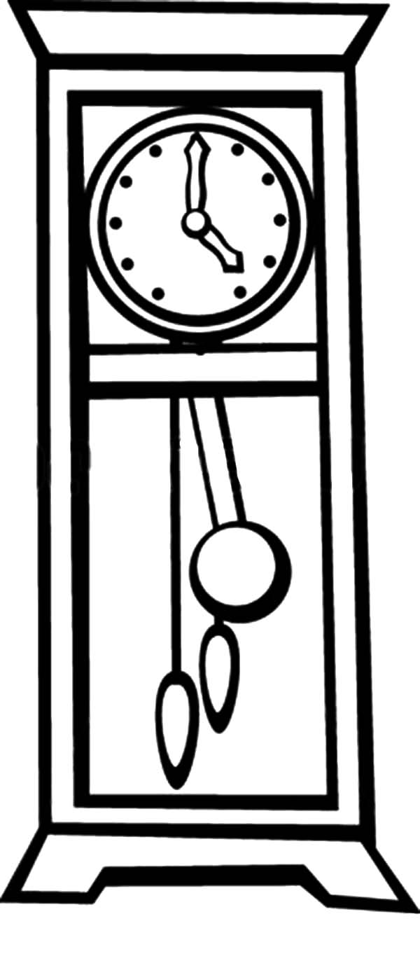 Coloring pages furniture - Grandfather Pendulum Clock Coloring Pages
