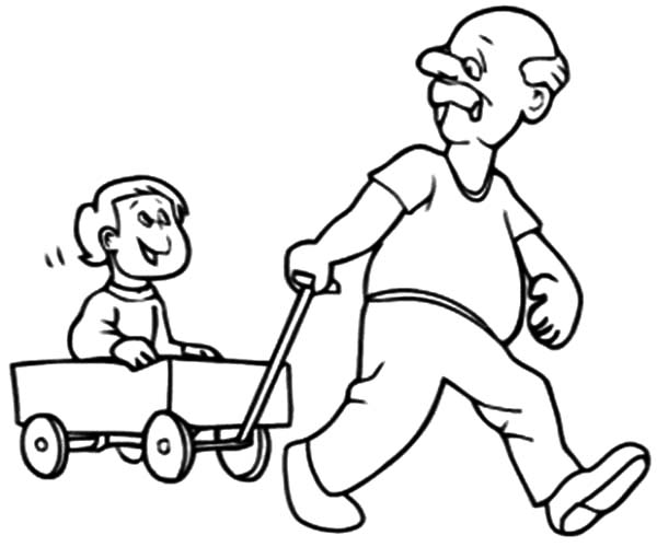 Grandfather Pulling Me On Cart Coloring Pages
