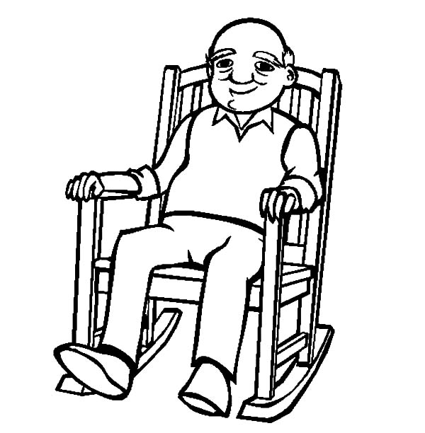 grandfather sitting rocking chair coloring pages