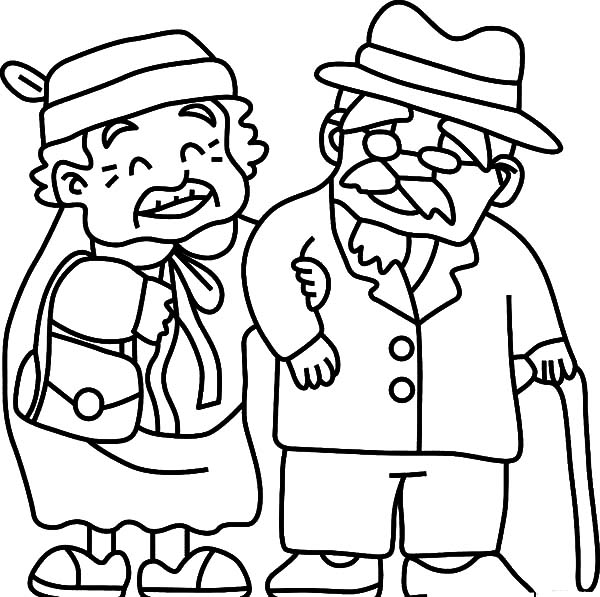 Grandfather, Grandfather Take Grandma To Walk Coloring Pages: Grandfather Take Grandma to Walk Coloring Pages