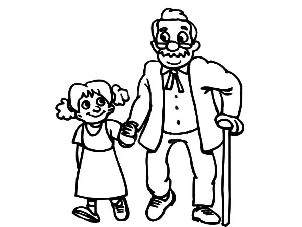 Grandfather grandfather walking with his grandchildren coloring pages
