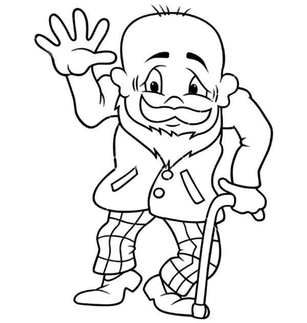 Grandfather, Grandfather Waving Hand Coloring Pages: Grandfather Waving Hand Coloring Pages