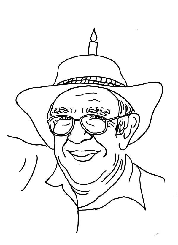 Grandfather, Grandfather Wearing Hat With Candle On It Coloring Pages: Grandfather Wearing Hat with Candle on it Coloring Pages