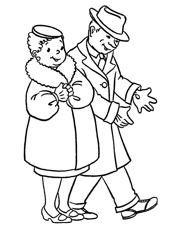 Grandfather, Grandfather And Grandmother Going To Party Coloring Pages: Grandfather and Grandmother Going to Party Coloring Pages