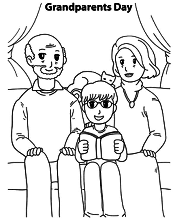 Grandfather And Grandmother Take Picture With Me Coloring Pages
