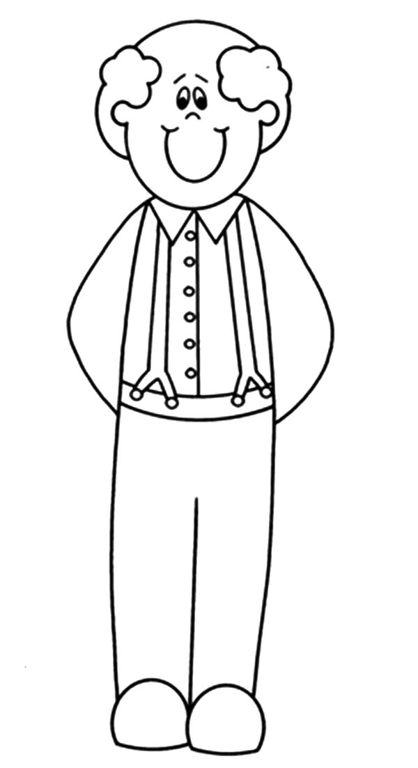 Grandfather Smiling Coloring Pages Color Luna