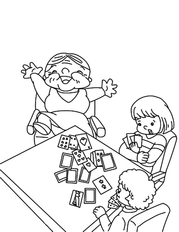 Grandmother beat her grandchildren in playing card for Playing cards coloring pages