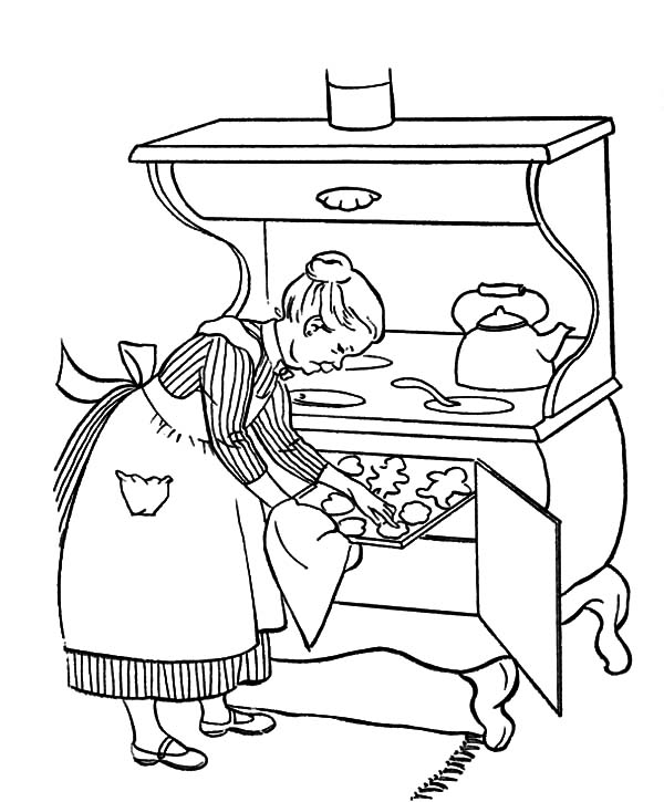 Grandmother Cooking Delicious Cookies Coloring Pages