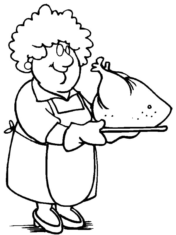 Grandmother Cooking Turkey Coloring Pages | Color Luna