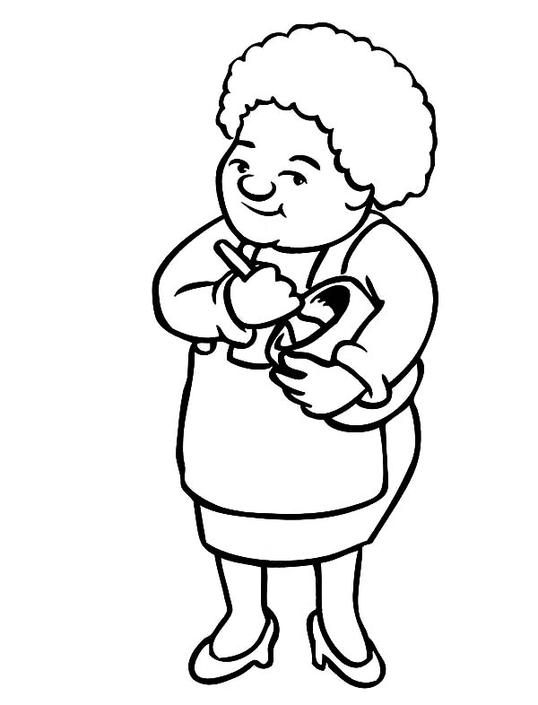 grandmother make cake batter coloring pages - Make Coloring Pages