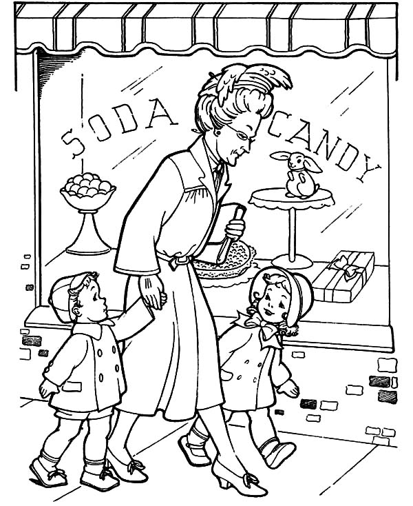 Grandmother, Grandmother Take He Grandchild Walk Around Coloring Pages: Grandmother Take He Grandchild Walk Around Coloring Pages