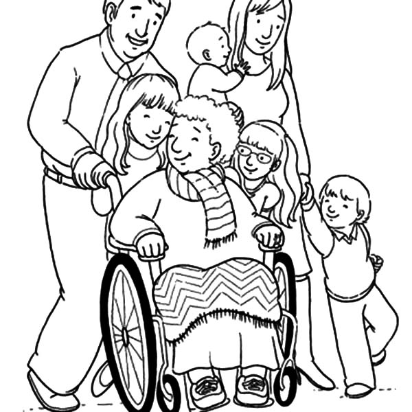 Grandmother and Her Big Family Coloring Pages | Color Luna