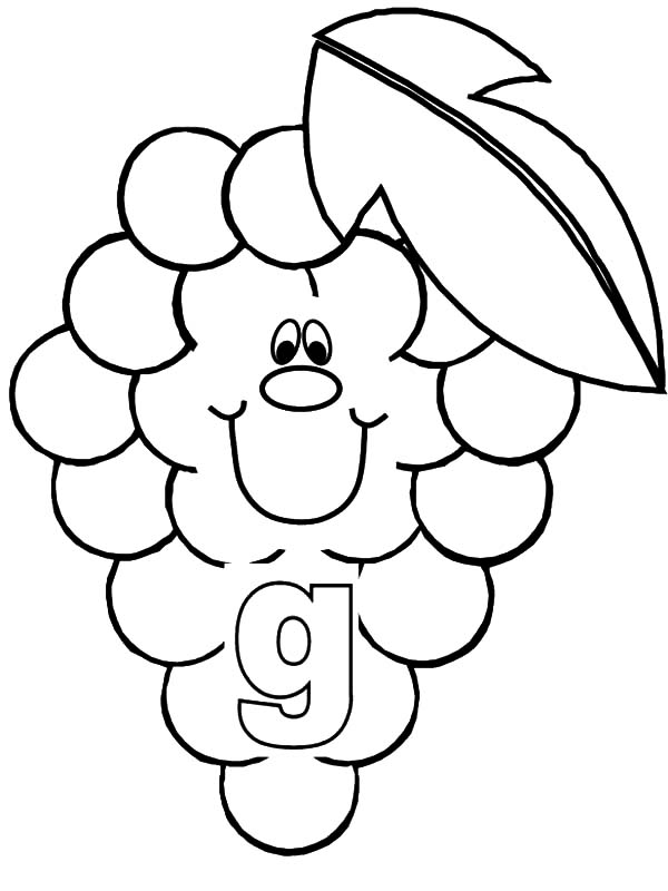 Grapes, Grapes For Smiling Letter G Coloring Pages: Grapes for Smiling Letter G Coloring Pages