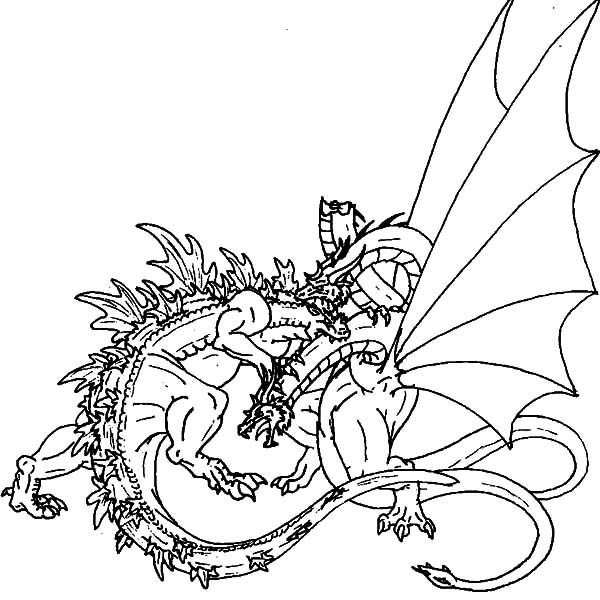 Godzilla, Great Fight Of Godzilla And Dragon Coloring Pages: Great Fight of Godzilla and Dragon Coloring Pages