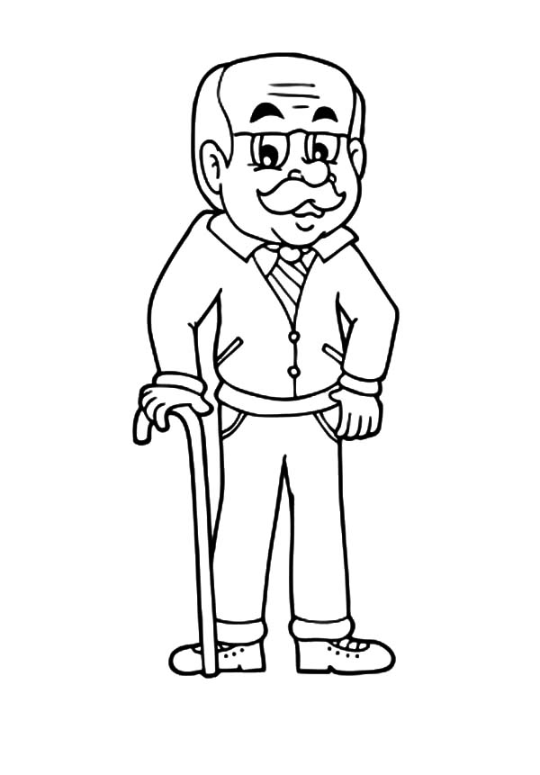 Grandfather, Handsome Grandfather Coloring Pages: Handsome Grandfather Coloring Pages
