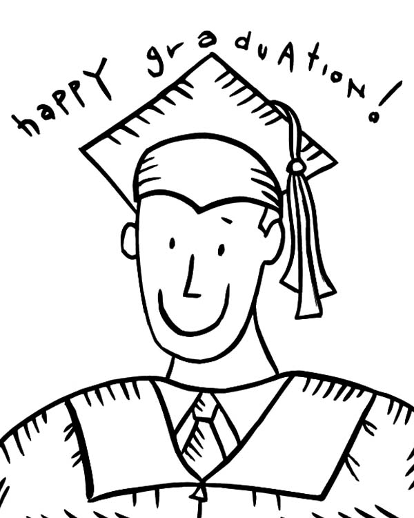 Graduation, Happy Graduation Boy Coloring Pages: Happy Graduation Boy Coloring Pages