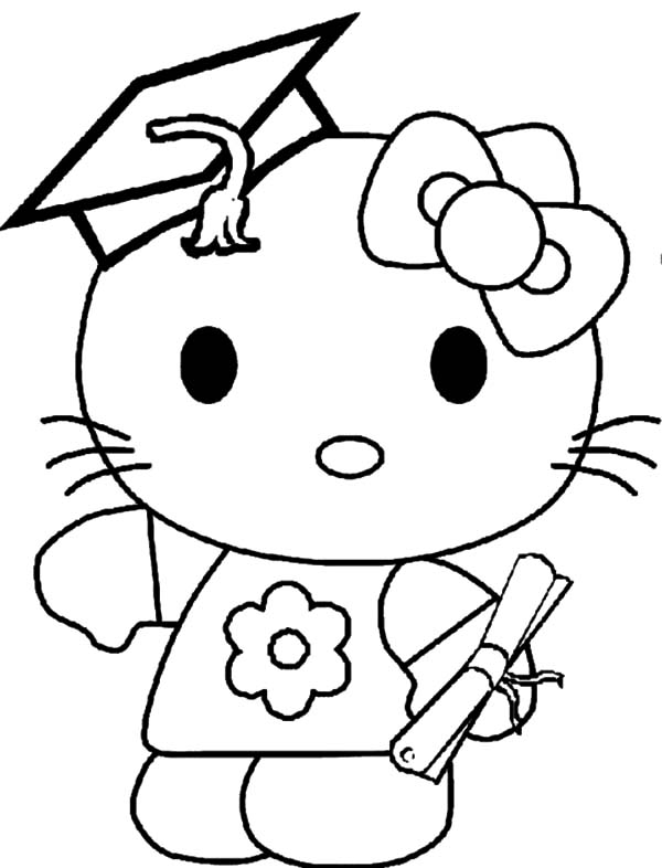 hello kitty graduation day coloring pages
