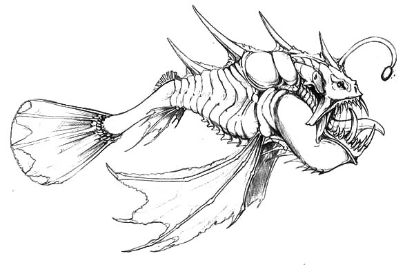 Hideous Monster Fish Coloring Pages