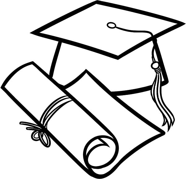 Graduation Cap and Diploma Outline Coloring Pages | Color Luna