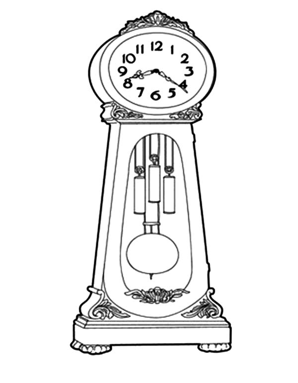 Grandfather Clock How To Draw Coloring Pages