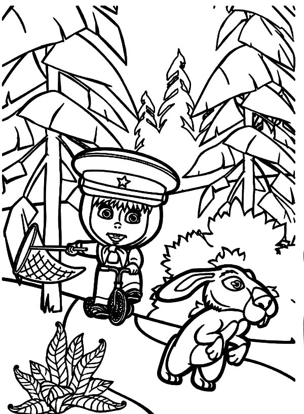 How to draw masha and the bear coloring pages