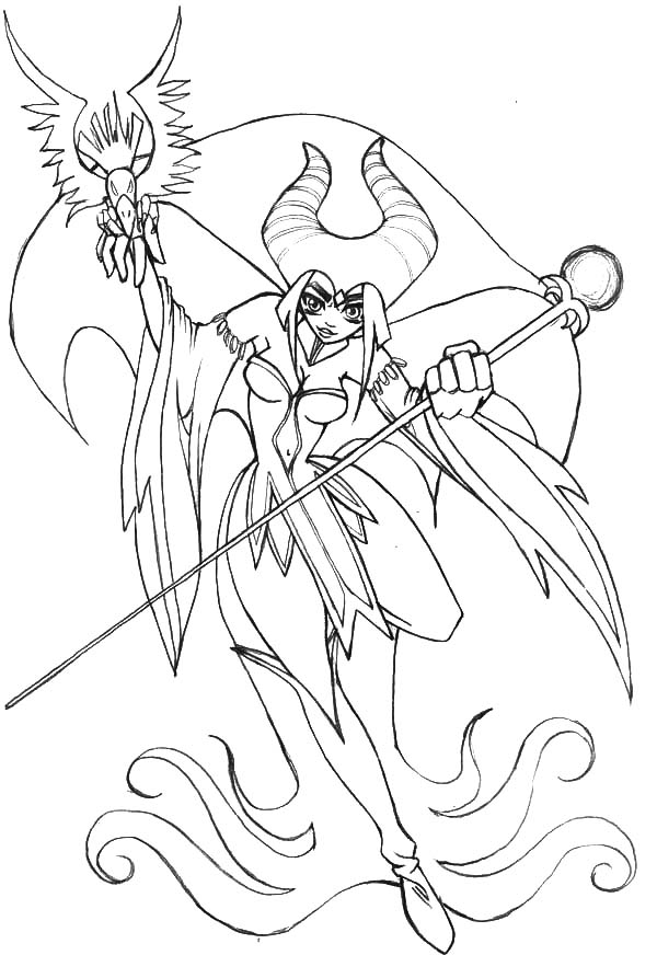 Japanese Manga Maleficent Coloring Pages Color Luna