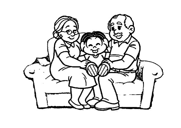 Grandmother, : Kid Spoiled by His Grandmother and Grandfather Coloring Pages
