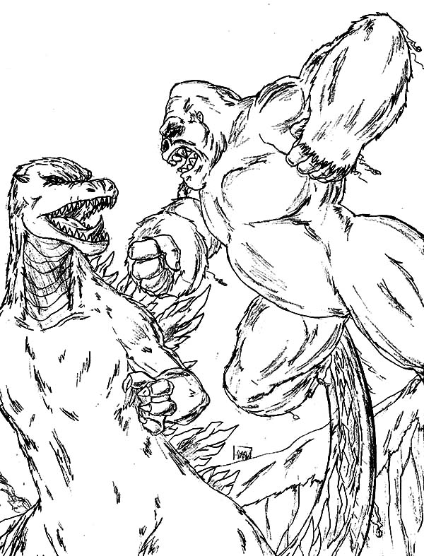 king kong vs godzilla coloring pagesjpg 600787 lineart monsters demons pinterest