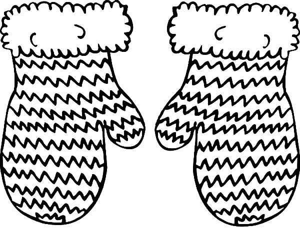 Knitted Mittens Coloring Pages