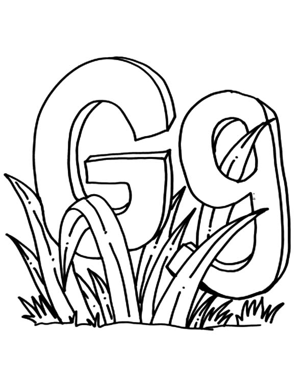 Grass, : Letter G for Grass Coloring Pages