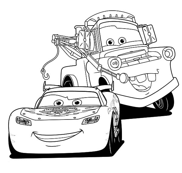 Lightning McQueen and Tow Mater Coloring Pages Color Luna
