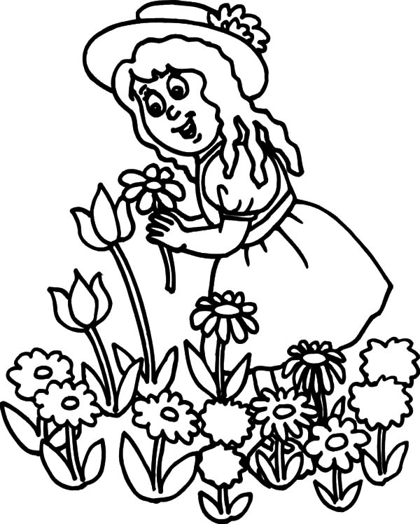 Garden, Little Girl Pick Flower In Garden Coloring Pages: Little Girl Pick Flower in Garden Coloring Pages