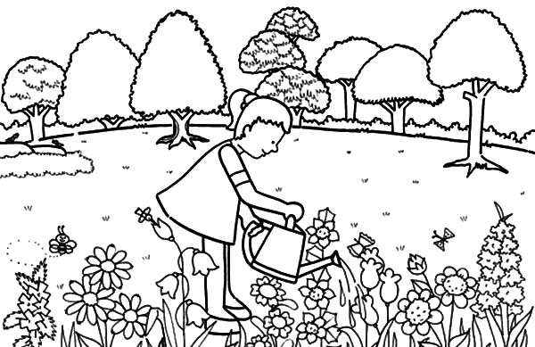 Little girl pouring water in garden coloring pages