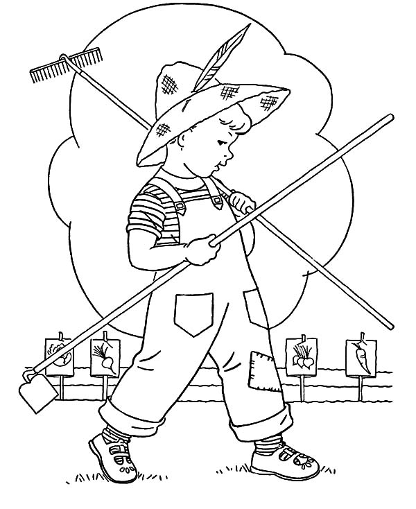 Garden, Little Kid Is Going To Garden Coloring Pages: Little Kid is Going to Garden Coloring Pages