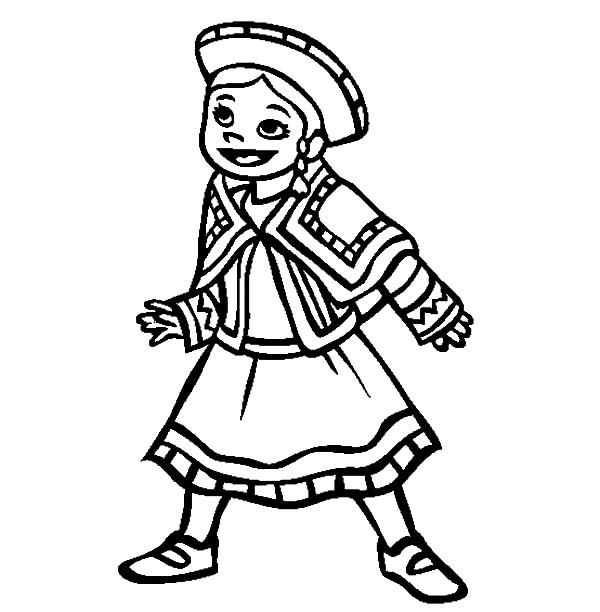 Little Mexican Girl Wearing Mexican Dress Coloring Pages | Color Luna