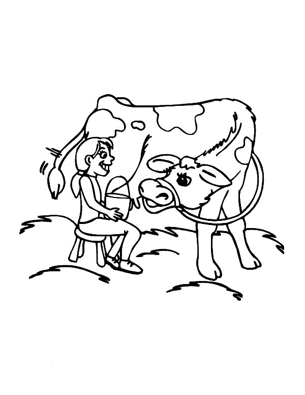 Milking Cow, Little Want To Milking Her Cow Coloring Pages: Little Want to Milking Her Cow Coloring Pages