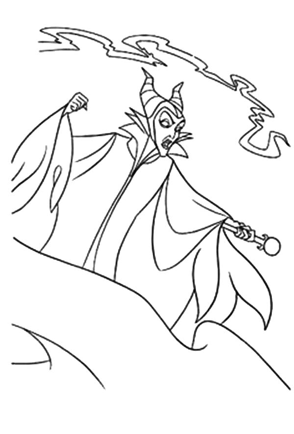 Maleficent, Maleficent Black Magic Attack Coloring Pages: Maleficent Black Magic Attack Coloring Pages
