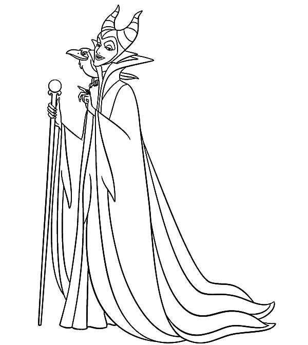 Maleficent, Maleficent Setting For Scheming Coloring Pages: Maleficent Setting for Scheming Coloring Pages