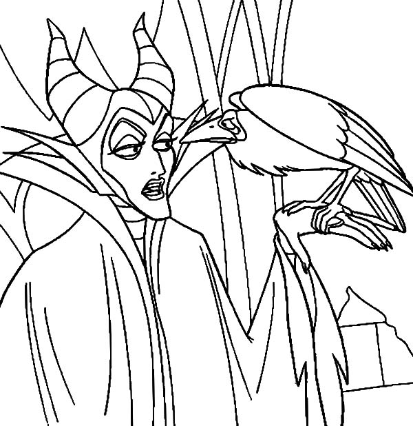 Maleficent, Maleficent Talking To Her Pet The Crow Coloring Pages: Maleficent Talking to Her Pet the Crow Coloring Pages