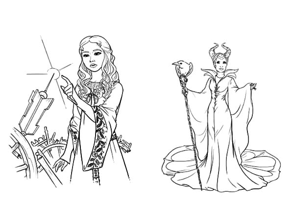 Maleficent and Her Evil Plan to Princess Aurora Coloring Pages