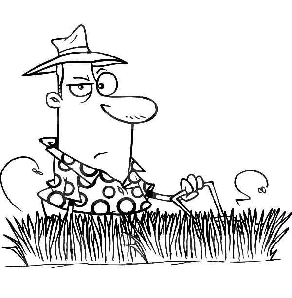 Grass, Man Mowing Tall Grass Coloring Pages: Man Mowing Tall Grass Coloring Pages